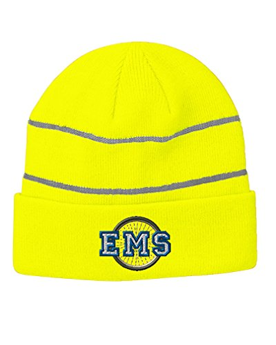 Ems Bike Patrol (Ems Bike Patrol Embroidery Design Acrylic Beanie Reflective Stripes Neon Yellow)