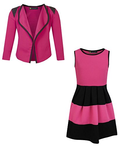 LotMart Girls Sleeveless Skater Dress Bundle with Girls Blazer Jacket in Cerise 9-10 Years by LotMart