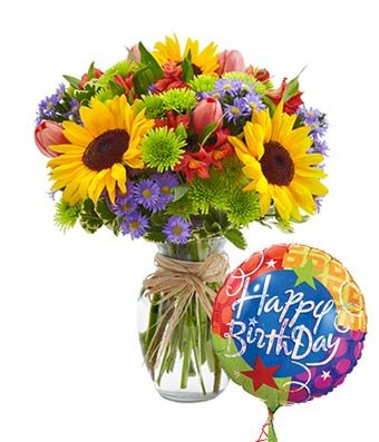 Amazoncom Birthday Brights Bouquet Same Day Birthday Flowers