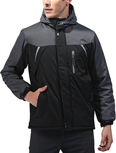 Vcansion Men's Outdoor Waterproof Mountain Jacket Fleece Windproof Ski Jacket Black/L - Hi Performance Vent Hood