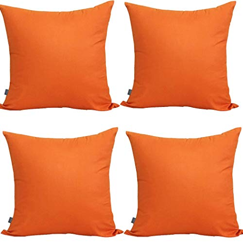 4-Pack 100% Cotton Comfortable Solid Decorative Throw Pillow Case Square Cushion Cover Pillowcase (Cover Only,No Insert)(18x18 inch/ 45x45cm,Orange)