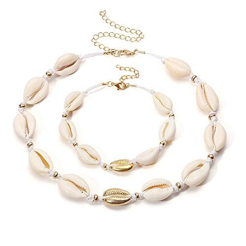 Konpicca Natural Shell Choker Handmade Rope Pearl Hawaii Beach Bracelet Necklace Set Jewelry for Women Girls