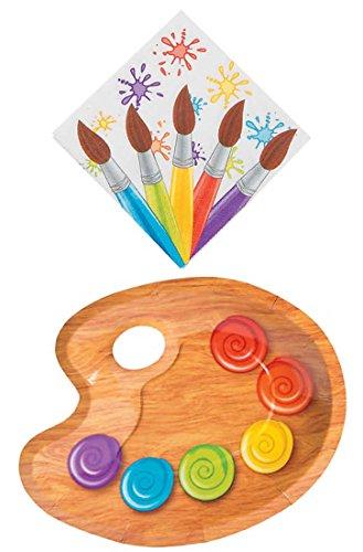 Paint Party Supplies for 16 People: Palette Dessert Plates and Napkins 32 Piece Set ()