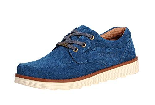 Sereno Mens Primavera Casual In Pelle Scamosciata Stringate Traspirante Low Top Moda Sneaker Azzurro