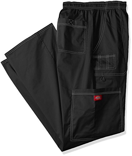 Dickies Mens Big And Tall Genflex Contrast Drawstring Cargo Scrub Pant  Black  Large Tall