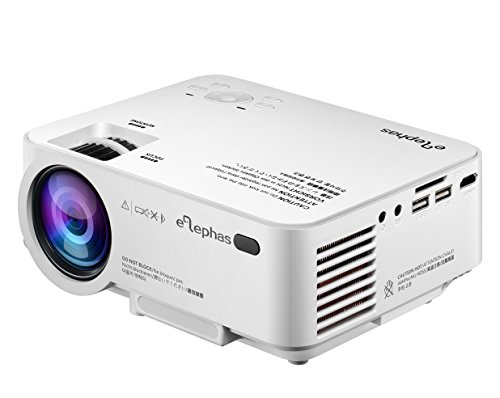 ELEPHAS 1500 Lumens LED Video Home Projector, LCD Pico Mobile Projector Portable for Home Cinema Movie and Home Entertainment, Support 1080P HD Compatible for TV laptop game Computers and Smartphones
