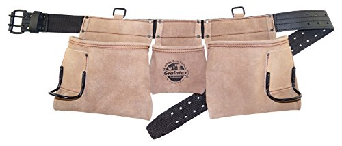Graintex DS2004 5 Pocket Professional Suede Leather Work Apron with 2'' Leather/Webbing Belt Double Needle Roller Buckle by Graintex