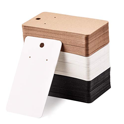 Coopay 150 Pieces Earring Display Card Earring Card Holder Blank Kraft Paper Tags for DIY Ear Studs and Earrings in Black, Brown and White (3.5 x 2)