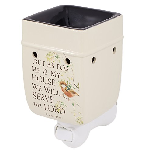 As for Me and My House Joshua 24:15 Ceramic Stoneware Electric Plug-in Outlet Wax and Oil Warmer (Electric Oil Warmer Plug In compare prices)