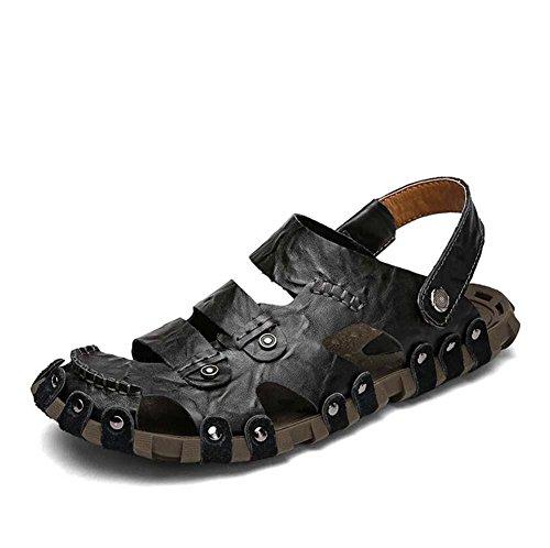 Onfly Hombres Chicos Dedo del pie cerrado Cuero Casual Sandalias Zapatillas Antideslizante Respirable Para caminar Al aire libre Sandalias Zapatos de agua Zapatillas de deporte ocasionales Playa Zapat Black