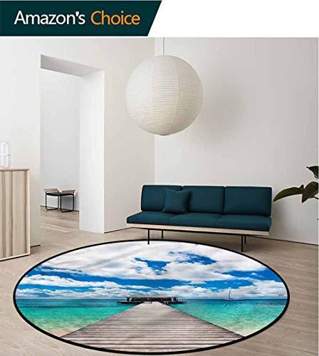- RUGSMAT Ocean Computer Chair Floor Mat,Exotic Caribbean Seascape Non-Slip Soft Floor Mat Home Decor Diameter-47