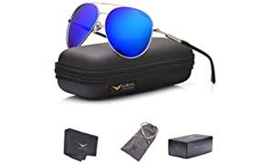 LUENX Men Aviator Sunglasses Polarized Women - UV 400 with case 60MM