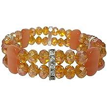 Fun Orange Glass Beaded Double Row with Rhinestones Stretch Bracelet