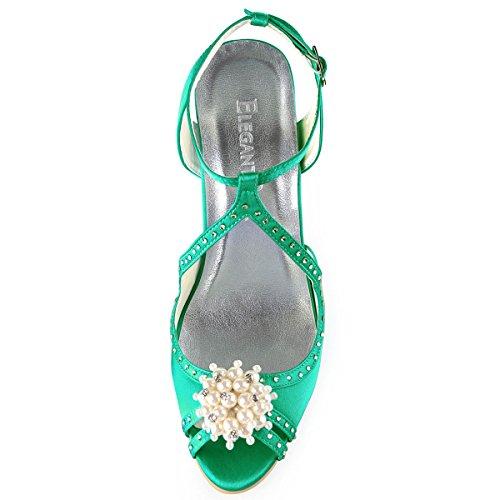 ElegantPark Pearls Cross Wedding Toe Green Heel Satin Sandals EP11058 Peep Shoes Bridal Strap Women High rwrqS