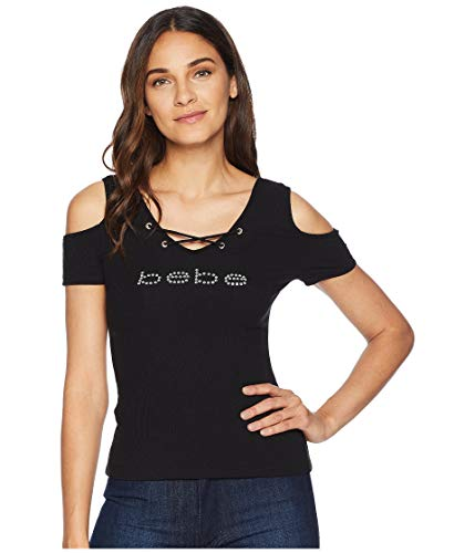 bebe Womens Logo Lace-Up Rib Black LG ()