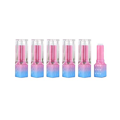 6 Pcs 3.5g Upscale Empty Refillable Pink Gradient Blue Square Lip Gloss Tube Lipstick DIY Vial with Transparent Lid Lip Balm Pipe Oil Film Holder Lip Enamel Sample Container (Lipstick Tube Pipe)