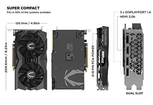 ZOTAC Gaming GeForce RTX 2070 Super Mini 8GB GDDR6 256-Bit 14Gbps Gaming Graphics Card, Ice Storm 2.0, Super Compact, ZT-T20710E-10M