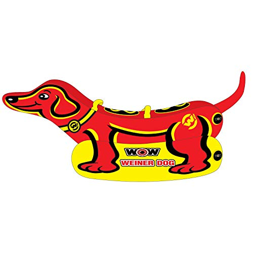 WOW Watersports Weiner Dog 19-1000, 1 to 2 Person Towable Tube, Easy Boarding, Giant Inflatable Raft, Wiener Dog Inflatable