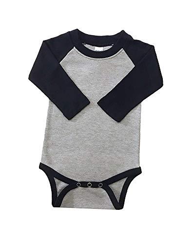 (Monag Long Sleeve Baby Raglan Bodysuit (6-12M, Heather w/Black))