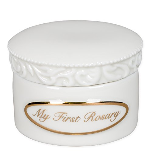 My First Rosary Gold Tone Letters Small White Porcelain Jewelry Box - Porcelain Rosary Box