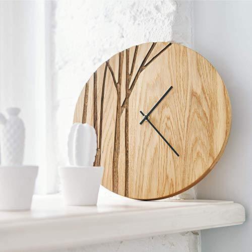 Oak wood wall clock PAULIS 12in