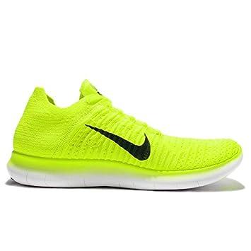 Nike Free RN Flyknit MS Mens Running Volt Black-White