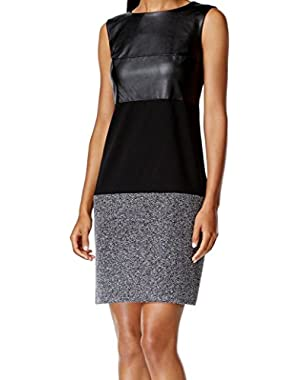 Calvin Klein Womens Petites Colorblock Faux Leather Wear to Work Dress Black 0P
