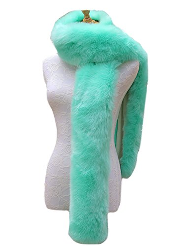 Long Collar Scarf - FLEAP Women Winter Warm Faux Fox Fur Scarf Collar Long Wrap Scarf Stole Shawl Shrug, Mint Green