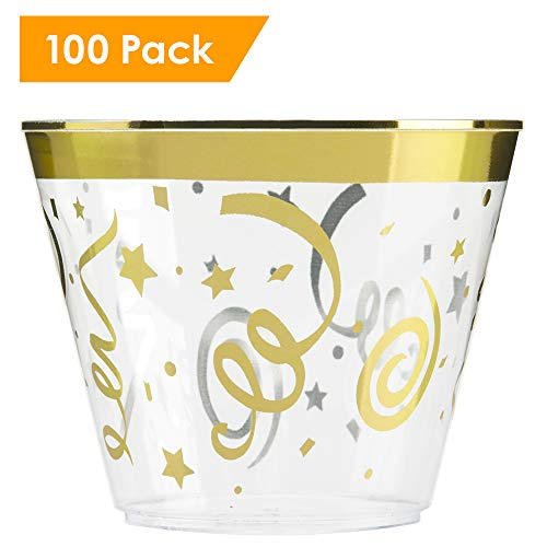 100 CELEBRATION Gold Rimmed Plastic Cups ~ 9 Oz Cup Tumblers ~ Elegant Festive Party Cups ~ Fancy Disposable Wedding Cups by F-32 Signature Collection