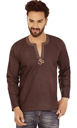 Embroidered Cotton Mens Short Kurta Dress Shirt Indian Clothing (Chocolate, L)