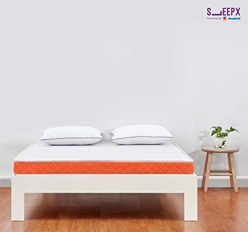 Sleepwell SleepX Brill PU Foam Mattress - (72x72x5 Inches) with Free Pillows