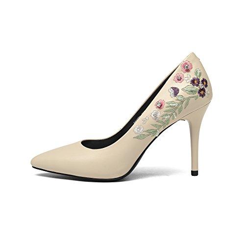 rosa fina alta elegante Beige zapatos cuero una de La con solo elegante de luz Heel punta Shoes wZpxpdzEq