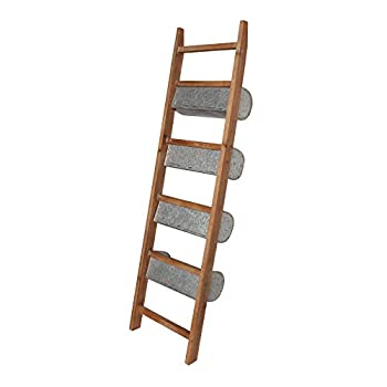 Kate and Laurel Pothos Wood and Metal Leaner Storage Bin Ladder, Rustic Brown