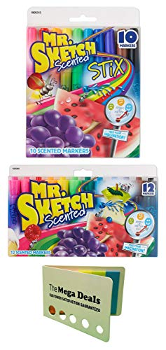 Mr. Sketch Scented Markers, Assorted Colors, 10-Count Fine Tip Markers and 12-Count Chisel Tip Markers | Includes 5 Color Flag Set ()