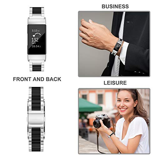 Wearlizer Stainless Steel Band Compatible for Fitbit Charge 3 Bands/Fitbit Charge 4 Bands Women Men,Ultra-Thin Lightweight Replacement Band Strap Wristbands for Fitbit Charge 3 (Black+Silver)
