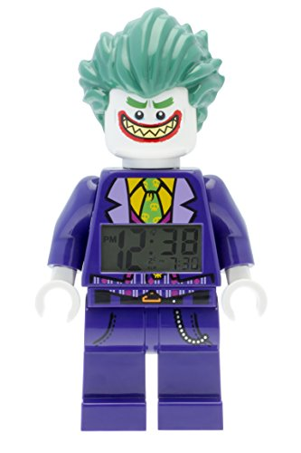 Lego Batman 9009341 The Joker Kids Minifigure Alarm Clock | Purple/Green | Plastic | 9.5 inches Tall | LCD Display | boy Girl | Official