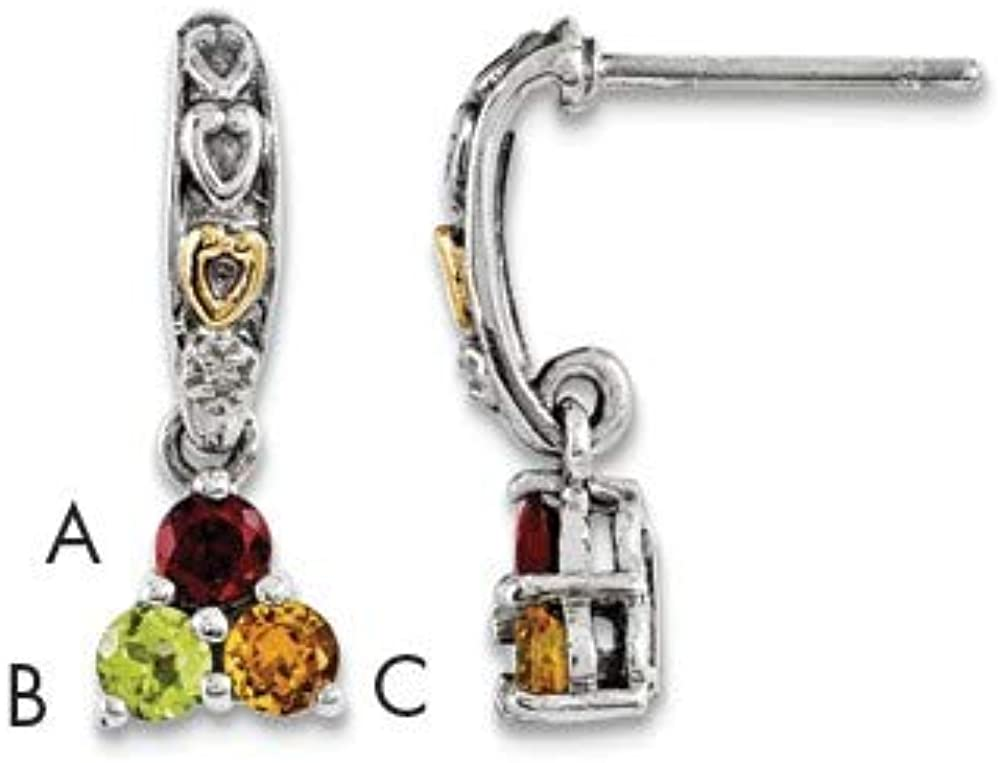 Sterling Silver /& 14k Three-stone and Diamond Mothers Earring Semi-Mount Length 19 Width 7