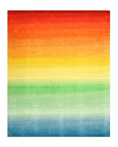 EORC HL4MU Hand Tufted Wool Rainbow Rug, 5' x 8', Multi