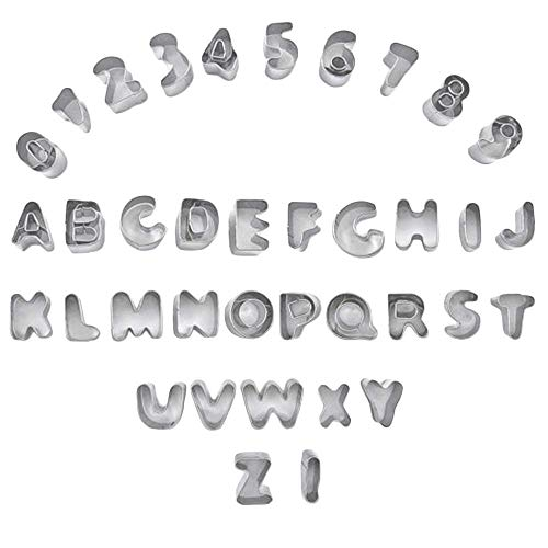 Fruit Cookie Cutter Set Alphabet and Numbers Metal Mini 26 Capital Letters and 0-9 Numbers 36pcs Tools for Cookie Stainless Steel Mold (Alphabet Cookie Cutters Metal)