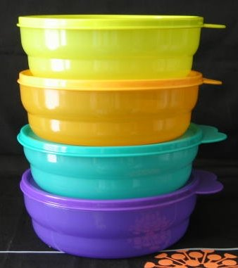 Tupperware Microwave Cereal Bowl Set Rainbow Colors