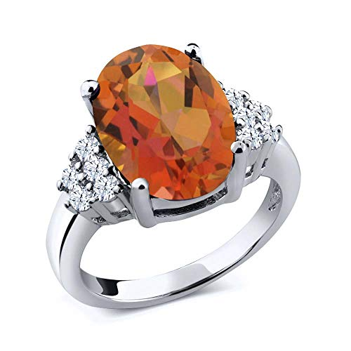 Gem Stone King 4.40 Ct Twilight Orange Mystic Quartz White Created Sapphire 925 Sterling Silver Ring (Size 6) -