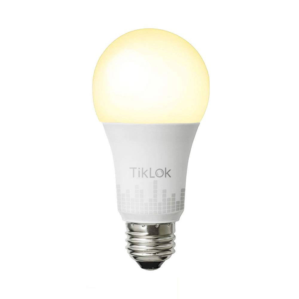 TIKLOK Smart LED Light Bulb, WiFi Smart Bulbs 2700K Dimmable Colored with 800 Lumens, Compatible with Alexa and Google Home, No Hub Required