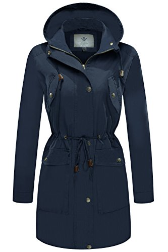 WenVen Women's Versatile Militray Zipper Slim Fit Jackets with Drawstring Hoodie(Navy,Medium) ()