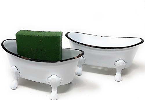 Bathtub Containers White Enamel Soap Dish