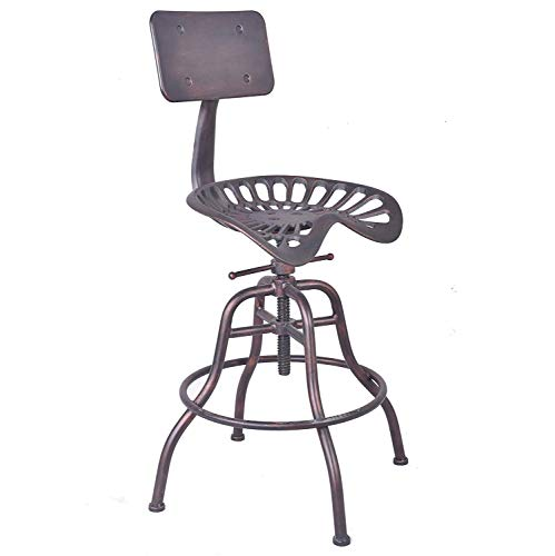 Style Stool Bar Saddle (Industrial Design Metal Adjustable Height Back-Rest Chair Tractor Saddle Bar Stool (Copper))