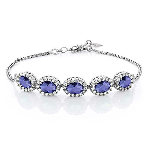 4.29 Ct Oval Checkerboard Blue Iolite 925 Sterling Silver Bracelet 7