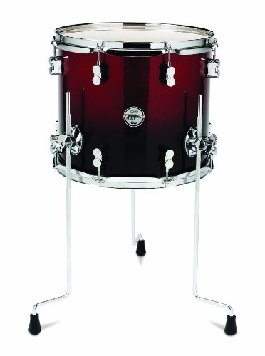 Pacific Drums PDCM1214TTRB 12 x 14 Inches Tom with Chrome Hardware - Red to Black Fade - Black Pacific Tom Drum