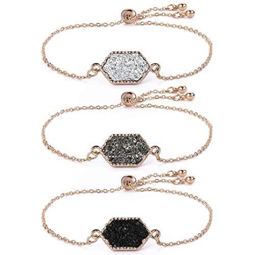 Women Girls Link Bracelet Silver Gold Plated in Faux Druzy Stone Sparkly Hexagon Quartz Adjustable Bracelet Set (Gold Set-Black/Gray/White) ()