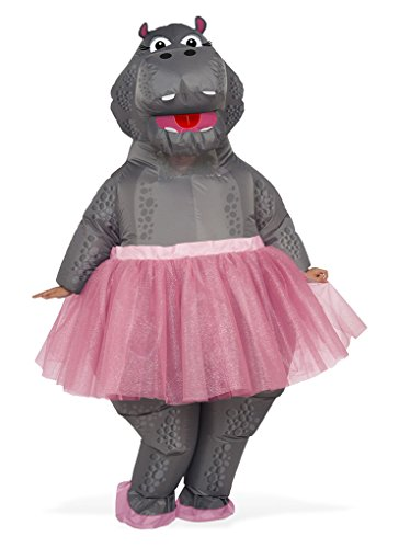 Faerynicethings Adult Size Inflatable Hippo with Pink Tutu Costume - Ballerina ()