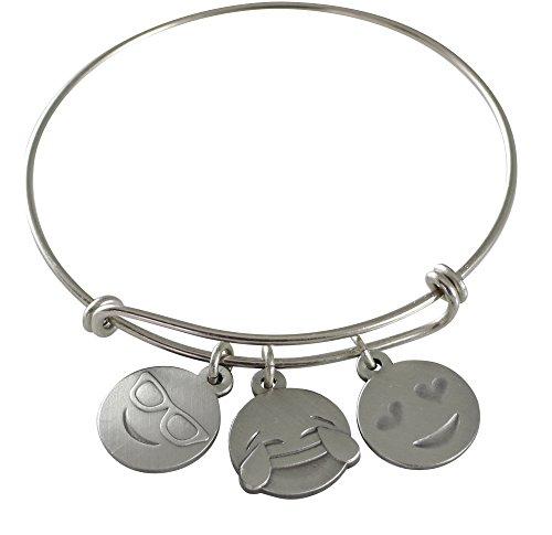 Emoji Charm Bracelet (Live. Laugh. Love. - Antique Silver)